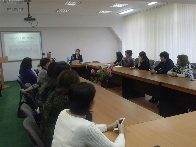"December 2, 2015 the Department of ""Economics"" in cooperation with Professor University Hoseo Hong Kim (South Korea) organized a round table on the topic «How to development Kazakhstan Economics?»"