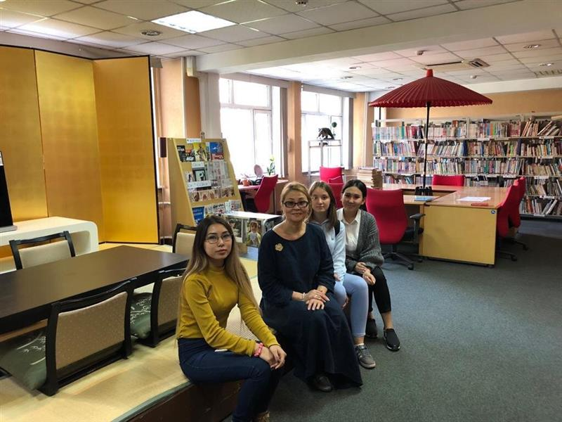 Teacher of the Department shalgimbayeva S. Kh and students of the Department in the library